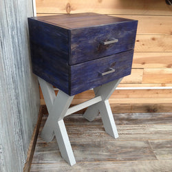 The Maritime - Modern Rustic Navy Wood Grain End Table / Nightstand - Handmade in USA