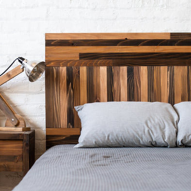 Natural Rustic Chevron Headboard and Standing Platform Bed Frame The Long Canyon Organic Handmade in USA