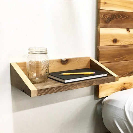 Rustic Modern Wood Floating Tray End Table / Shelf   Reclaimed Shelving    Handmade In USA