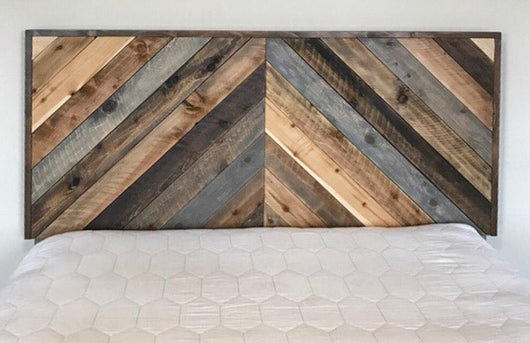 Rustic Chevron Headboard - One of a Kind Design - Handmade in USA