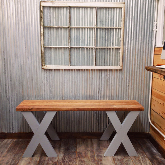 The Southern Proper Bench - Rustic Charming Wood - Handmade in USA