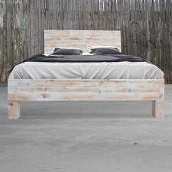 Rustic Beach Wood / Whitewashed Barn Wood Style Bed Frame & Headboard Set