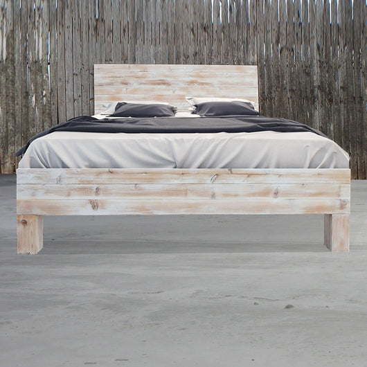 Ordinaire Rustic Beach Wood / Whitewashed Barn Wood Style Bed Frame U0026 Headboard Set    Handmade In