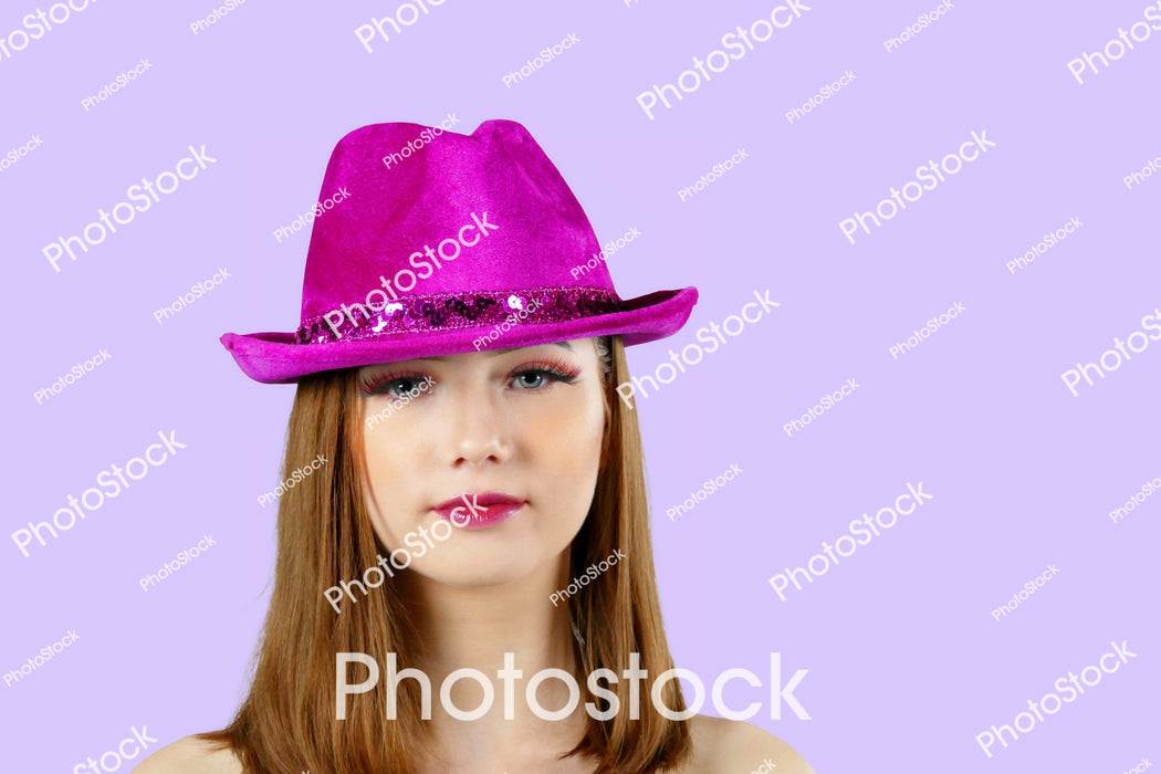 Young model wearing pink hat