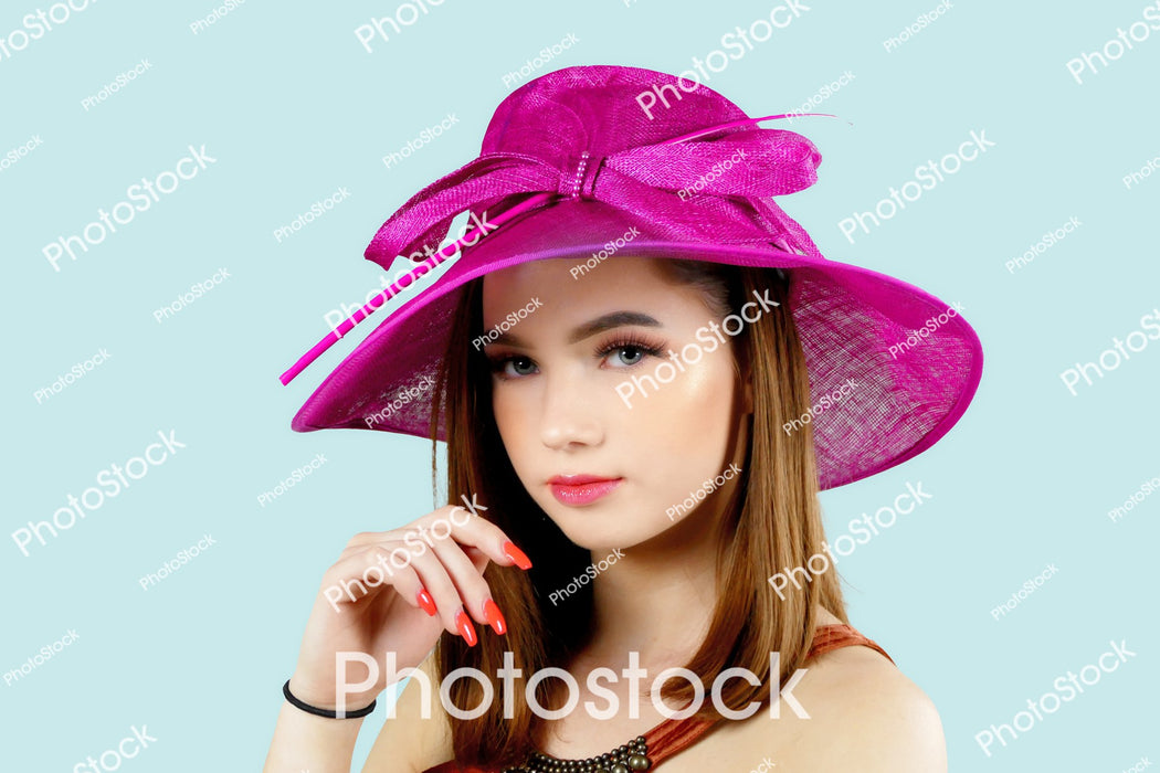 Young model wearing pink hat 2