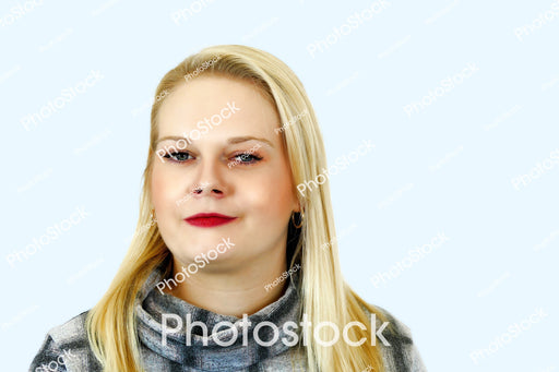 Blonde haired woman in grey top headshot
