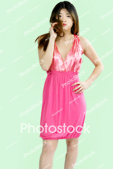 Gorgeous model posing in pink dress (80)
