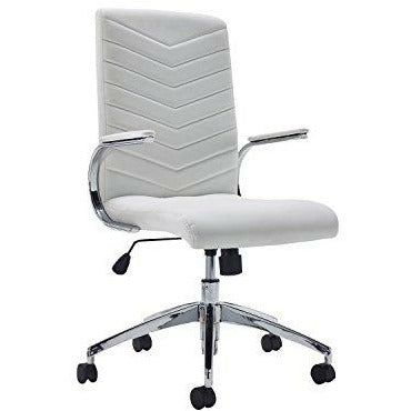 Office Hippo Executive Swivel Office Desk Chair with Fixed Padded Arms, Faux Leather, White - Open Box