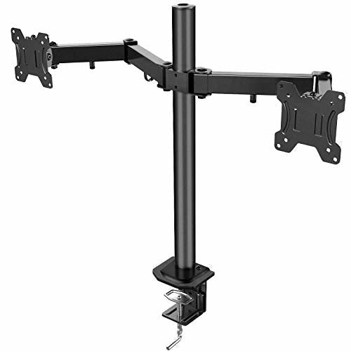 """HUANUO 13""""-27"""" Dual Monitor Mount, Fully Adjustable for Two LCD LED Screens, 2 Mounting Options, VESA 75/100 - Very Good"""