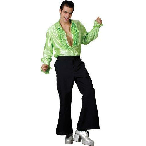 Men BLACK FLARES Trousers Flared Disco Saturday Night Fever Fancy Dress Costume - Brand New