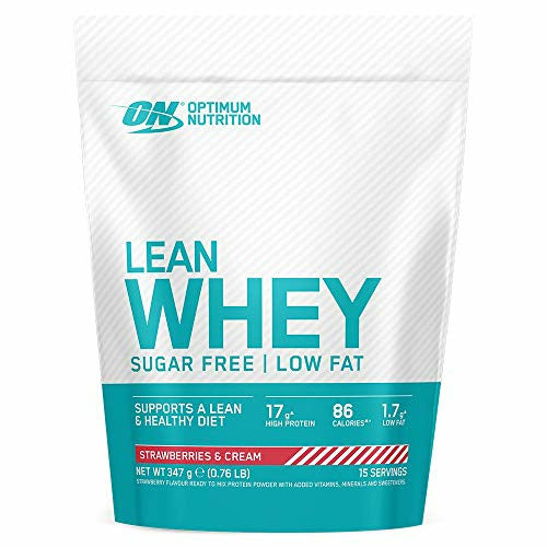 Optimum Nutrition Lean Whey Protein Powder, Low Fat, Sugar Free Lean Protein with Vitamins and Minerals, Muscle Gain, Strawberry & Cream, 347 g, 15 Servings, Packaging May Vary, Like New