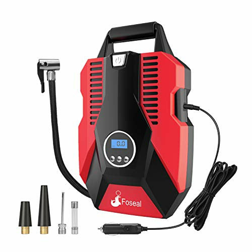 Foseal Tyre Inflator, Portable Air Compressor Car Tyre Pump with Storage Bag, DC 12V 150PSI - Open Box
