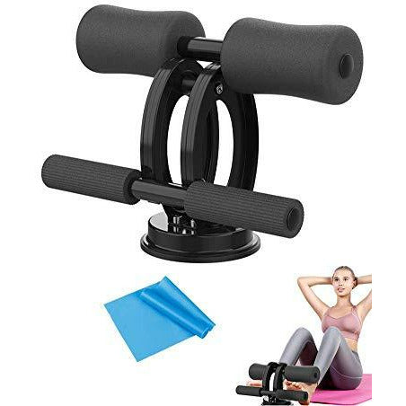 Self-Suction Sit Up Bar, Adjustable Sit-Up Aid Equipment with Double-Rod Big Suction Cups,for Abdomen/Waist/Arm/Leg Stretching, Slimming Training - Very Good