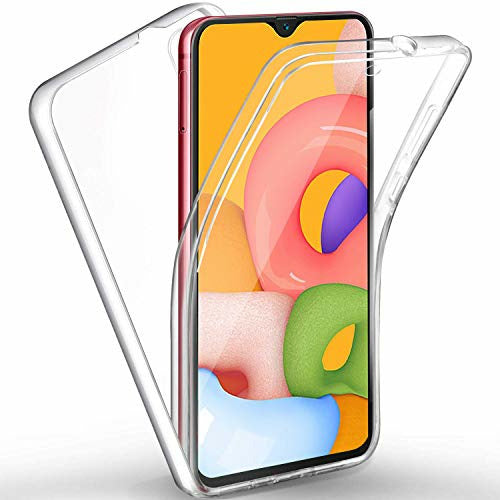 DN-Alive Galaxy A01 Case Cover, [Front And Back Case] [Screen Protector] [Slim] [Transparent] [Clear] TPU Bumper 360° Full Body TPU Silicone Gel For Samsung A01 Phone Case, Good
