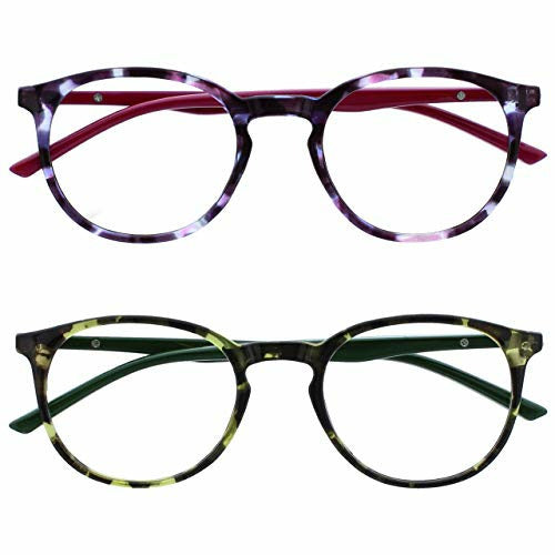 Opulize Met 2 Pack Reading Glasses Large Round Purple Green Mens Womens Spring Hinges RR60-56 +2.50 - Like New