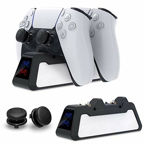 FASTSNAIL for PS5 Controller Charger, Wireless Fast Charging Dock for PlayStation 5 DualSense Controller Twin Docking Station for Sony PS 5 Charging Stand with Thumb Grips and Cable - Good