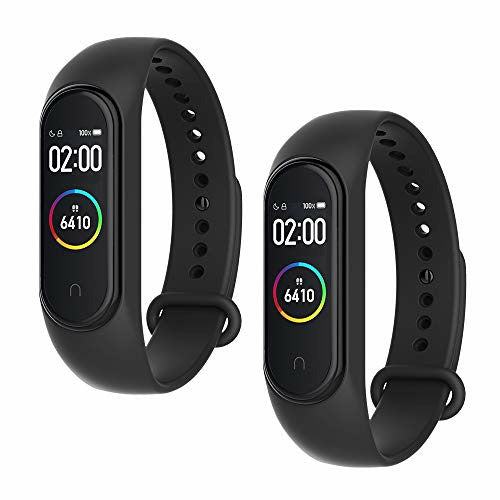 WD&CD 2 Pack Silicone Strap Compatible with Xiaomi Mi Band 3/4, Adjustable Colourful Replacement Wristband Soft Sport Watch Band Replacement for Xiaomi Mi Band 4/3 (Black,Black), Acceptable