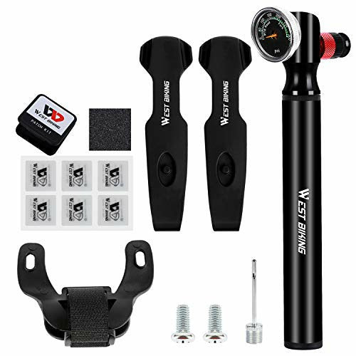 Mini Bike Pump With Gauge 300 PSI High Pressure Bicycle Tire Air Pump with Glueless Patch Kits Portable Bike Pump Fits Presta & Schrader Valves for Road, Mountain and BMX Bikes Pump Includes Mount Kit - Open Box