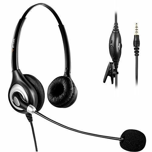 Arama Phone Headset with Noise Canceling Boom Mic and Adjustable Fit Headband for iPhone Samsung LG HTC Blackberry Huawei ZTE Mobile Phone and Smartphones with 3.5mm Jack (A602MP) - Like New
