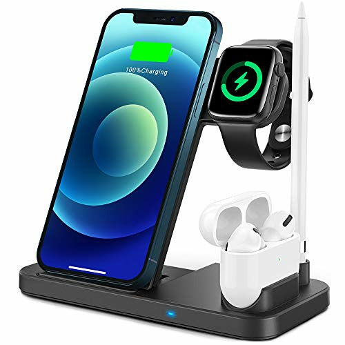 TEMINICE 4 in 1 Wireless Charger for Apple Watch & AirPods & Pencil Charging Dock Station, Nightstand Mode for iWatch Series SE/6/5/4/3/2/1, Fast Charging for iPhone 12/11/Pro Max/XR/XS Max/Xs/X/8/8P, Very Good
