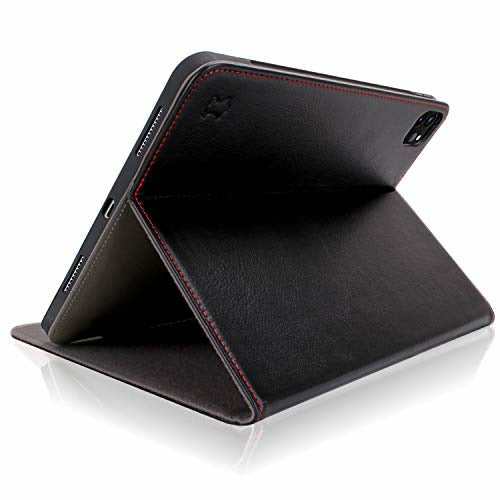 iPad Pro 11 2020 Case - Cuvr Genuine Leather Secure Any-Angle Cover with Apple Pencil Holder for 2nd Generation iPad Pro 11 inch (Black), Good
