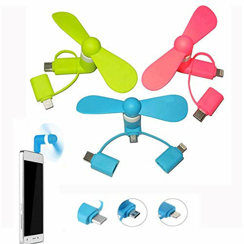 Mini Phone Fan, 3 Pack 3-in-1 Portable Phone Fan USB Small Handheld Fan for iPhone/iPad, Android, Samsung S8/S9 - Micro USB, Type C Connectors(Pink Blue Green), Like New
