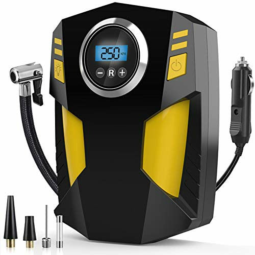 Digital Tyre Inflator, DC 12V Portable Air Compressor Car Tyre Pump with 3 Nozzle Adaptors and Digital LED Light, Electric Air Pump Tyre Inflation Auto Shut Off Accurate Pressure Control - Very Good