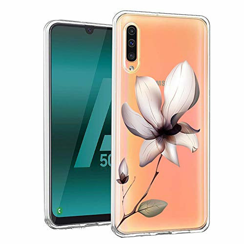 Yoedge Samsung Galaxy A50 / A30s / A50s Phone Case, Clear Transparent Print Patterned Ultra Slim Shockproof TPU Silicone Gel Protective Film Cover Cases for Samsung Galaxy A50 6.4 inch, Lotus, Like New