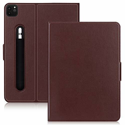 Fyy Case Cover for iPad Pro 12.9 2020 (4th Generation), Genuine Leather Folio Stand Case [Support Apple Pencil Charging] with Auto Wake/Sleep Feature for iPad Pro 12.9 2020 Brown, Like New