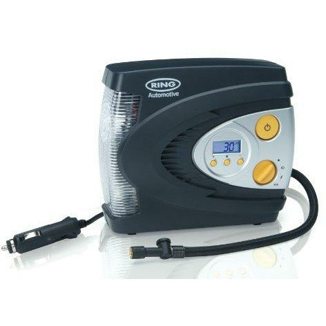 Ring RAC630 12V Digital Tyre Inflator, Air Compressor with Auto stop, Tyre Pump with LED Light, Case and Adaptor Set - Good