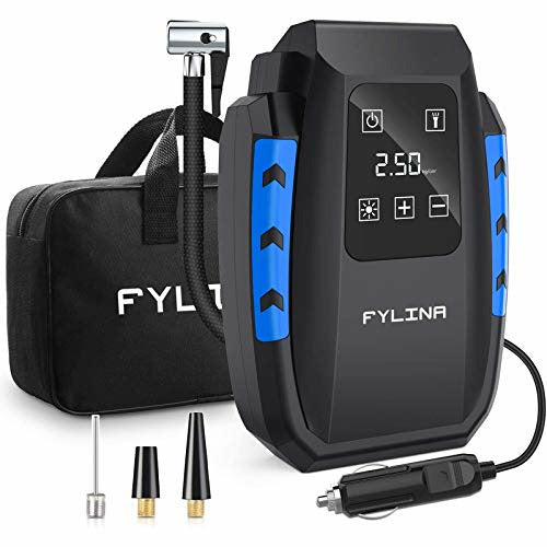 FYLINA AU01004 Updated Touch Screen Inflator, 12V 150PSI Digital Compressor Tyre Pump with 35L/Min Larger Air Flow, 3 Nozzle Adaptors, Bright Light and Large HD LED Display - Very Good