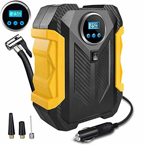 Digital Tyre Inflator Portable Air Compressor,DC 12V Air Inflator Pump with Backlit LCD for Car Tyres, Bicycles and Other Inflatables, Auto Shut Off Feature,Emergency LED Flashlight - Very Good