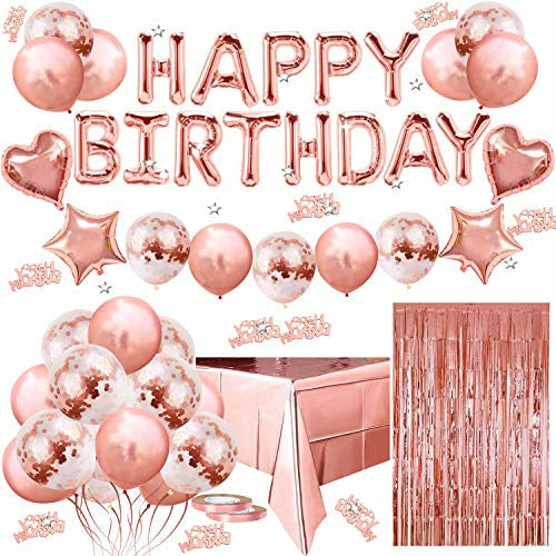 Birthday Decorations- Rose Gold birthday Decorations Set with Happy Birthday Banner Balloons, Confetti Balloons, Ribbon, Tablecloth, Fringe Curtain, Confetti for Girl Women Birthday Party Supplies - Open Box