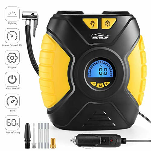 WindGallop Digital Car Tyre Inflator Air Tool Portable Air Compressor Car Tyre Pump Automatic 12V Electric Air Pump Tyre Inflation With Tyre Pressure Gauge Valve Adaptors Led Light - Good
