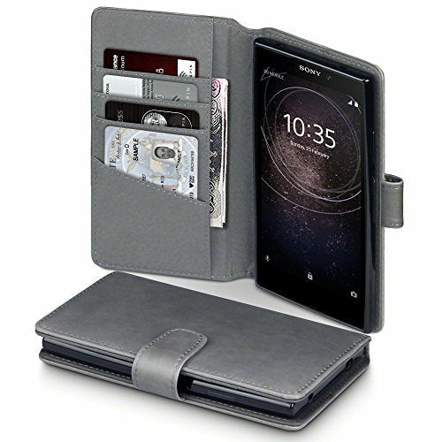 TERRAPIN, Compatible with Sony Xperia L2 Case, GENUINE LEATHER Wallet Flip Cover - Grey - Like New