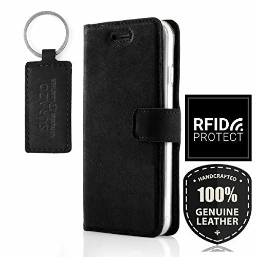 SURAZO® for Sony Xperia XZ2 - RFID - Premium Phone cover Handcrafted in EU - Wallet flip case made of Top Grain leather - Free Leather Keychain - Black - Open Box