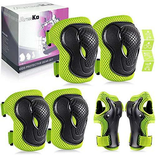 AresKo Kids/Youth Protective Gear Set, Kids Knee Pads and Elbow Pads Wrist Guard Protector 6 in 6 Protective Gear Set for Scooter, Skateboard, Bicycle, Inline Skating, Like New