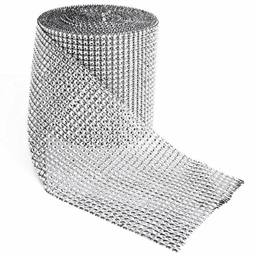 SurePromise 24 Row Silver Diamond Effect Mesh Wrap Sparkle Cake Ribbon Banding Wedding Party Decoration, Like New