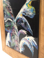 "Load image into Gallery viewer, DKC Designs, ""Dancing Feathers"" Resin Coated Painting Framed in Solid Maple  *Shipping n/a*"