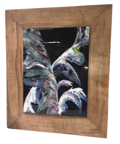 "DKC Designs, ""Dancing Feathers"" Resin Coated Painting Framed in Solid Maple  *Shipping n/a*"