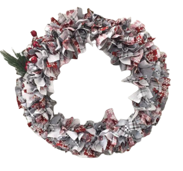 Nature's Living Edge Gems, Holiday Door Decor Rag Wreath