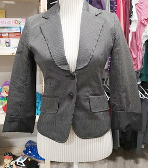 H&M BLAZER BLACK PIN STRIPE LADIES SIZE 4 EUC