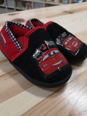 DISNEY CARS SLIPPERS HARD SOLE SIZE 7-8 EUC