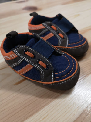 JOE FRESH CRIB SHOE ORANGE AND BLUE SIZE 2 EUC