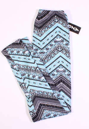 THICK LINED LEGGINGS TEAL/BLACK LADIES O/S 2-14 NEW!