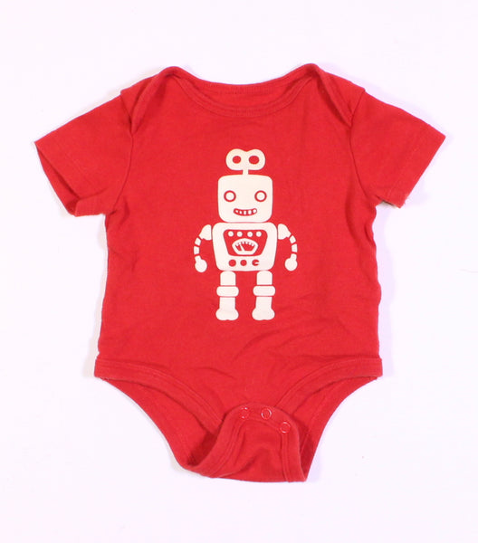JOE FRESH ROBOT RED ONESIE 3-6M EUC
