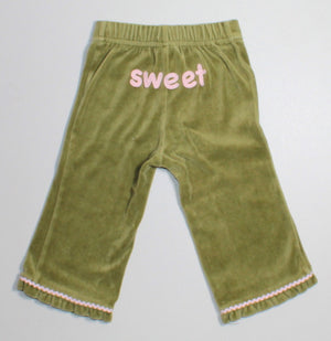 GYMBOREE GINGERBREAD 'SWEET' VELOUR PANT 12-18M EUC