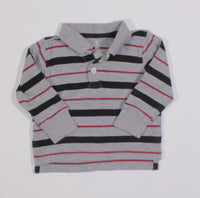 OLD NAVY GREY STRIPED LS TOP 6-12M EUC