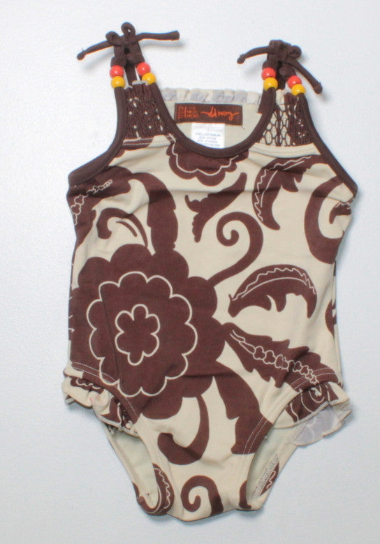 OLD NAVY BROWN SWIMSUIT 3-6M EUC