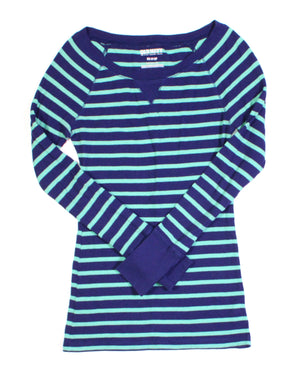 OLD NAVY TEAL & NAVY STRIPED WAFFLE LS TOP LADIES XS EUC